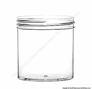 Plastic Crystal Styrene Single-Wall Straight Sided Jar
